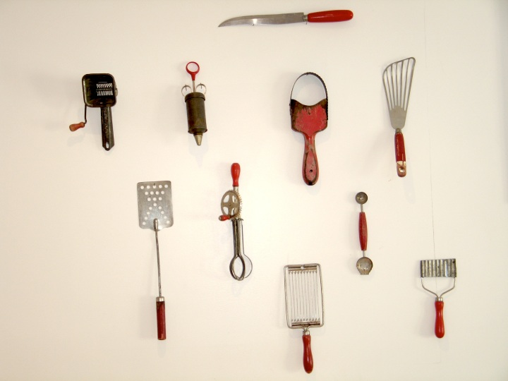 Red Kitchen Utensils antique collect collector vintage