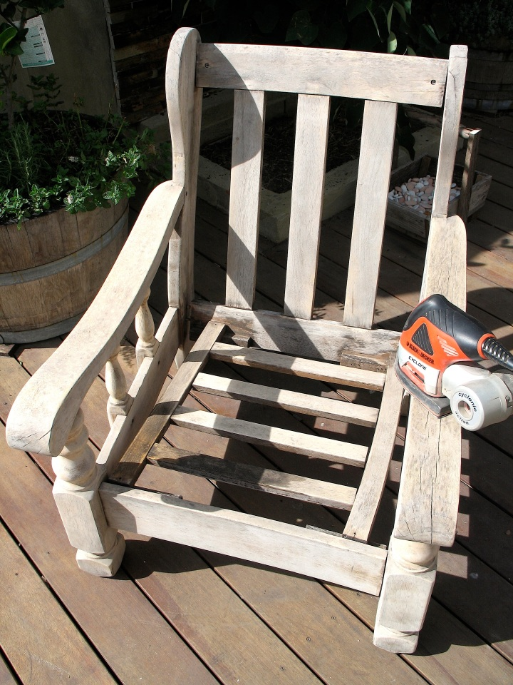 Sanded chair restore trash to treasure vintage paint outdoor furniture
