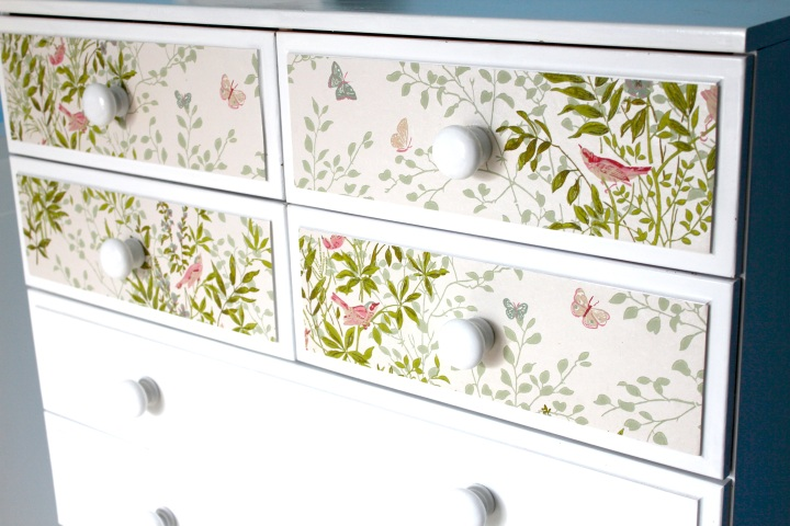 Restore and decorate a chest of drawers wallpaper paint nursery baby kids interior styling