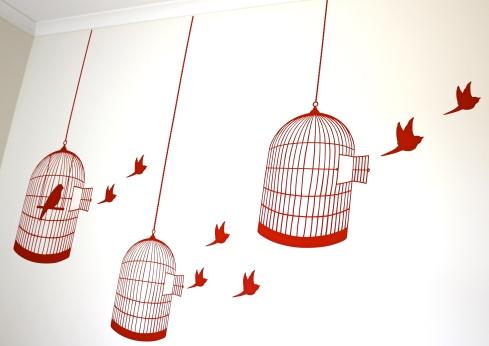 red birdcage and birds vinyl wall sticker