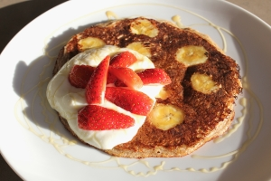 Rye and banana pancakes with vanilla yoghurt and manuka honey