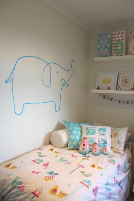 Turquoise blue elephant vinyl wall sticker nursery