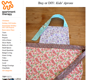 Apartment Therapy up cycled kids apron liberty material floral craft sewing DIY