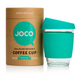 Joco reusable glass coffee cup Christmas tea juice