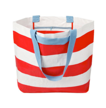 Project Ten Bags tote stripe red white light blue
